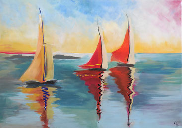 Galambos Rita Sailboats in the sunset Acrylic on canvas  landscape painting freischaffende Künstlerin Malerin Designerin Painter Designer Artist Vorarlberg Malerei