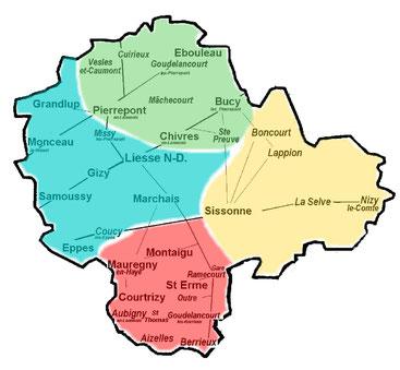Carte de la paroisse de Liesse Notre Dame Aizelles, Aubigny-en-Laonnois, Berrieux, Boncourt, Bucy-lès-Pierrepont, Chivres-en-Laonnois, Coucy-les-Eppes, Courtrizy-et-Fussigny, Cuirieux, Ebouleau, Eppes, Gizy, Goudelancourt-lès-Berrieux, Goudelancourt-lès-P