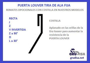 PUERTA LOUVER (TIRA) Z a 90° opcionalmente con Costilla