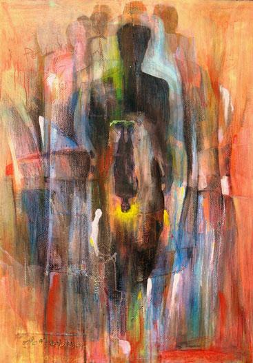 Oeuvre réalisée en réaction à la destruction de la toile collective Té ndé, Korblah RAK