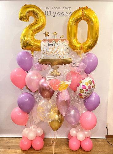 数字バルーン 誕生日のバルーンブーケ バルーンギフト バルーンシュップユリシス 二十歳 還暦祝い 米寿祝い 記念撮影