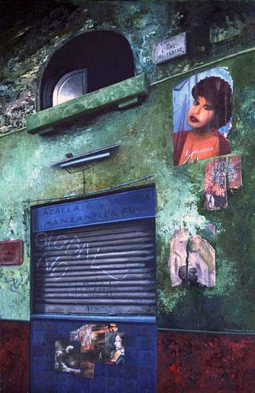 Huellas-2 (Cazalla de la sierra) 2002, óleo sobre madera 91.5X60 cm