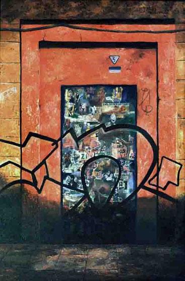 Huellas-1 (Muro naranja) 2002, óleo sobre madera 91.5X60 cm