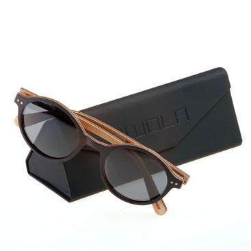 Holz Sonnenbrille Rund Helio Ebenholz