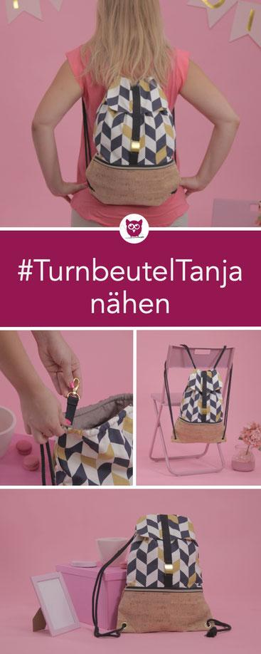 #TurnbeutelTanja aus dem #DIYeuleBuch nähen: Ein Turnbeutel mit Klappe, aus Canvas und Kork mit Außenfach, Geheimfach und Schlüsselanhänger. Nähanleitung von DIY Eule.