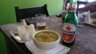 ビンタンビール、ソトアヤム Bintang Beer Soto Ayam