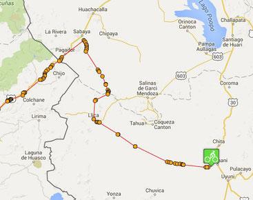 Itinéraire a velo salar de Coipasa et salar d'Uyuni