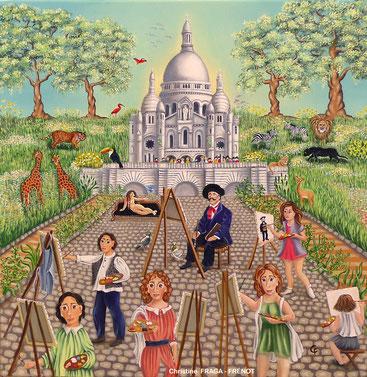102- LES PEINTRES AU SACRÉ COEUR Christine Fraga Frénot ART NAIF tableau carré  -  signé CF    huile sur toile 50x50cm