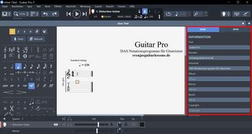 Songinformationen in Guitar Pro 7.5