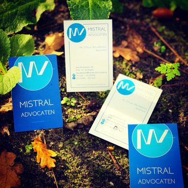 visitekaartjes, briefpapier, logo ontwerp, mistral advocaten, blauw, frisse wind, Amersfoort, Woerden