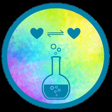 GlücksDestille - Zwei Herzen die sich gegenseitig austauschen; Glaskolben mit dem Gemisch des Lebens darin
