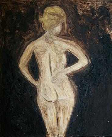Artigkeit, Claudia Karrasch, Bonn, Malen, Abstrakte Malerei, Kunst, Studio, Akt Brown, Acryl, Pastellkreiden, auf Leinwand, ca. 40 X 60 cm