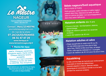 Flyer des activités de la Piscine Ker Aqua Rennes