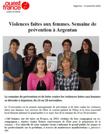 Semaine de prévention et de lutte contre les violences faites aux femmes 2014 à Argentan