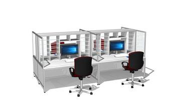Poststellenmöbel, Sortierregale und Schließfachanlagen, hier Arbeitstisch mit Sortieraufbau, Schüttrand und 900 mm hohem Unterschrank mit Schiebetüren