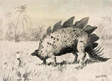 """Un'illustrazione dal libro """"Il mondo perduto"""" di Arthur Conan Doyle"""