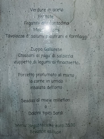 Speisekarte La Colti Agriturismo in Cannigione