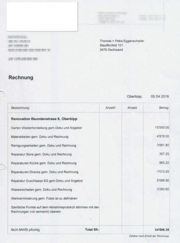 Mehr als 1 Monat nach der ordnungsgemässen Abgabe geht diese Rechnung ein