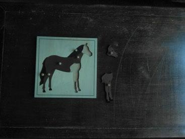 Puzzle en bois des différentes parties du cheval