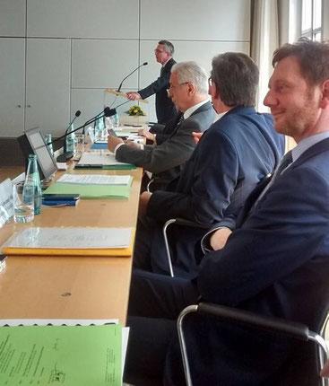 Gemeinsame Fraktionssitzung der CDU-Fraktion und der Landesgruppe Sachsen im Bundestag. (v.l.n.r.  Thomas de Maizière, Stanslaw Tillich, Frank Kupfer, Michael Kretschmer)