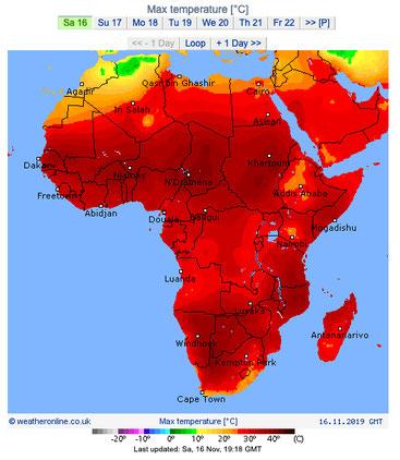 Africa bollente aggiornata al 16 novembre 2019