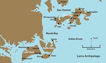 Mappa Arcipelago di Lamu