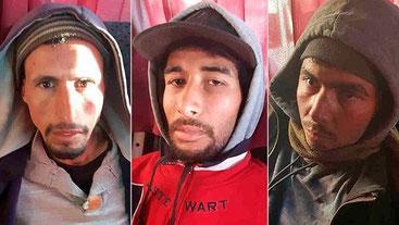 Da sinistra Abdessamad Ejjoud, Rachid Afatti e Younes Ouaziyad condannati alla pena capitale in Marocco