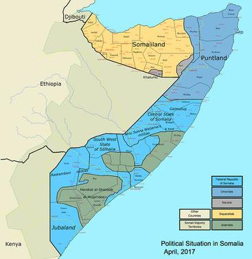 Mappa degli Stati e Regioni in Somalia