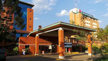 Uno dei meglio attrezzati ospedali privati di Nairobi, l'Aga Khan Hospital