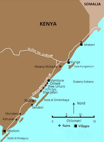 Mappa dalla frontiera somala a Mkokoni