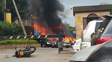 L'ingresso del complesso alberghiero attaccato dai terroristi islamici Al Shabaab