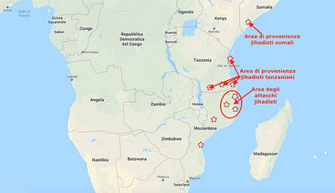 Mappa della provenienza dei jihadisti mozambicani e dell'area degli attacchi