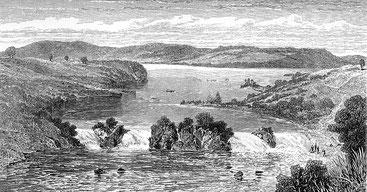 Le cascate Ripon all'estremità settentrionale del lago Vittoria in Uganda erano precedentemente considerate la fonte del fiume Nilo