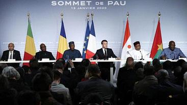 Vertice di Pau, Francia. I presidenti del G5 Sahel e Emmanuel Macron, presidente francese