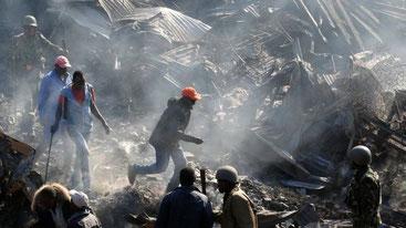 Incendio al mercato di Gikomba-Nairobi