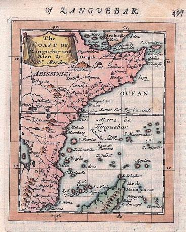 Zanguebar il paese degli Zanj - Mappa del 1688.