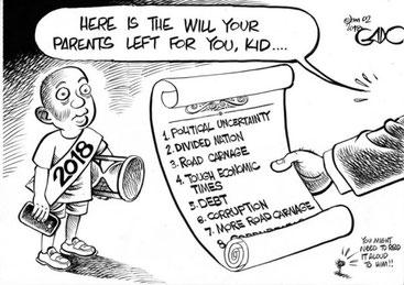 La vignetta satirica di Gado sull'eredità che il Kenya lascia alle nuove generazioni. Incertezza politica, divisioni, morti sulle strade, difficoltà economiche, debiti, corruzione