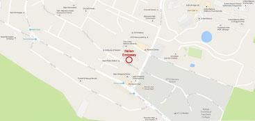 Mappa Ambasciata d'Italia a Nairobi
