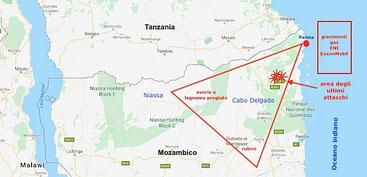Mozambico. Mappa triangolo d'oro jihadista