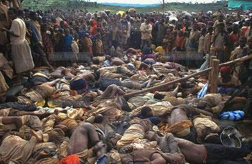 Campo di Kibeho (Ruanda). Uno dei massacri compiuti contro l'etnia tutsi