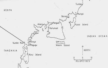 Mappa dei siti storici lungo la costa di Kwale