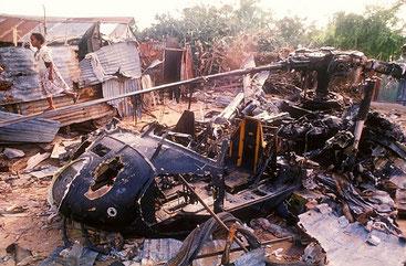 Uno degli elicotteri americani Black-Howk attattuto dai somali durante la battaglia di Mogadiscio