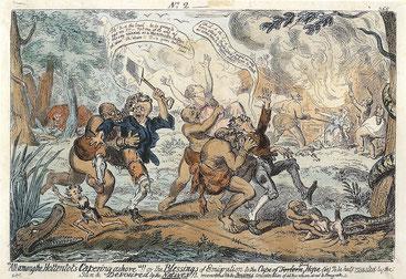 """Caricatura del 1820 che mostra i coloni  attaccati da cannibali """"ottentotti"""". Una visione satirica per ricordare agli emigranti i pericoli che li attendono"""