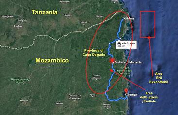 Mappa dell'agguato jihadista nel distretto di Macomia, a Cabo Delgado