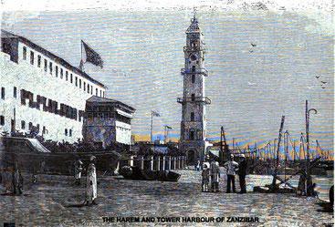 L'harem e la torre del porto (il faro) a Stone Town-Zanzibar 1890
