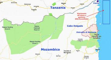 Mappa di Cabo Delgado dell'area dell'attacco jihadista