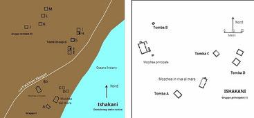 Mappa di Ishakani e  Pianta del gruppo principale (gruppo I) a Ishakani