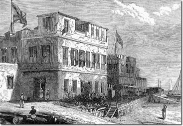 Il consolato britannico a Zanzibar nel 1872. Gli inglesi presero il controllo completo dell'isola nel 1890