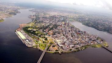 Isola di Mombasa, Kenya. Vista aerea.