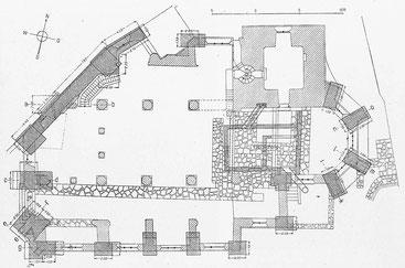 Fundament-Grundriss - Masstab 1 : 300, Architekt E. J. Propper, Schweizerische Bauzeitung, Nr. 17, 1913